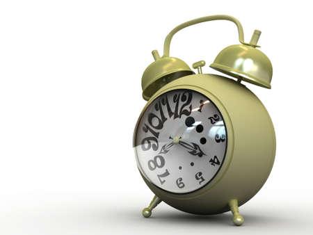 alarm yellow isolated clock on white photo