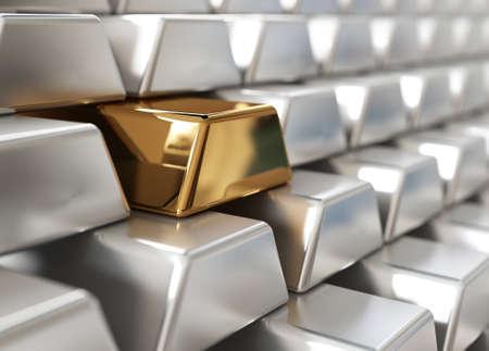lingotes de oro: Pila de lingotes de plata con una dorada Foto de archivo