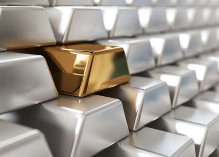 Stack of silver ingots with one golden Stock Photo - 9699219