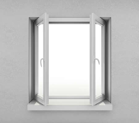 White opened window from inside photo