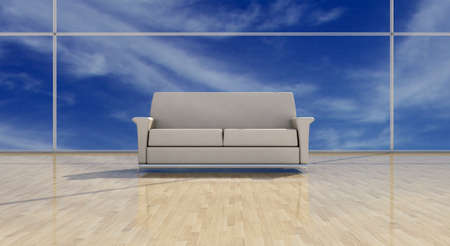 White leather sofa on shining floor photo