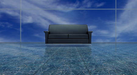 Black leather sofa on shining floor with panaram view\ behind