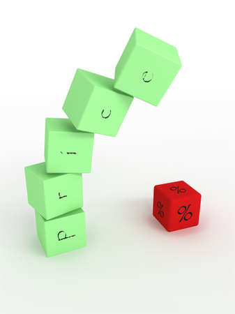downfall: Downfall of price, green cubes with one red