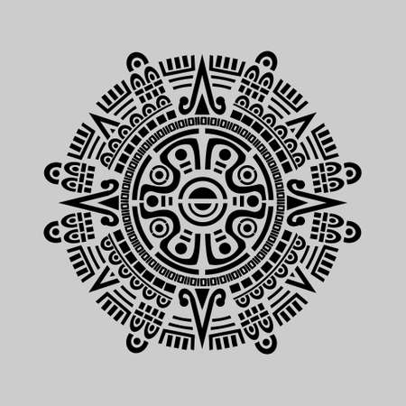 Vector of mayan calendar in grey background Çizim