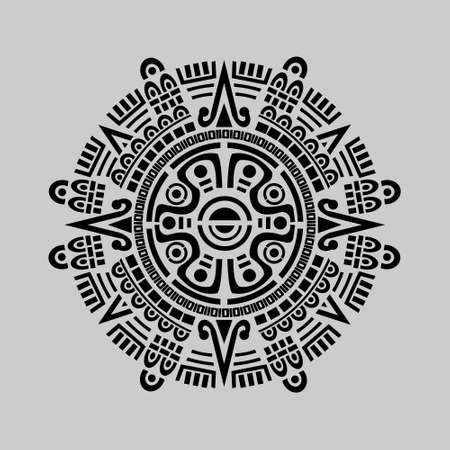 Vector of mayan calendar in grey background Illustration