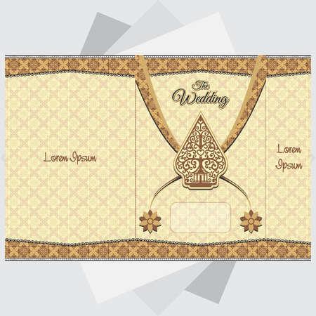 batik wedding invitation background Illustration