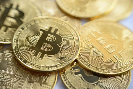 Golden bitcoin close-up. cryptocurrency coin