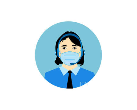 Call center operator, Customer service person Headset icon. Live chat operators, using mask. Online customer support service assistants with Headset. Vector illustration