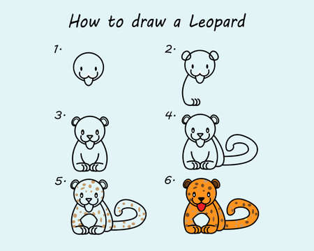 Step by step to draw a Leopard. Drawing tutorial a Leopard. Drawing lesson for children. Vector illustration. Vecteurs