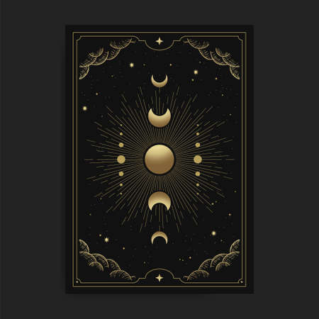 Moon phases in tarot cards, decorated with golden clouds, moon circulation, outer space and many stars