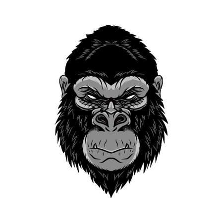 Animal head gorilla, ape, monkey. wild logo vector illustration. editable vector