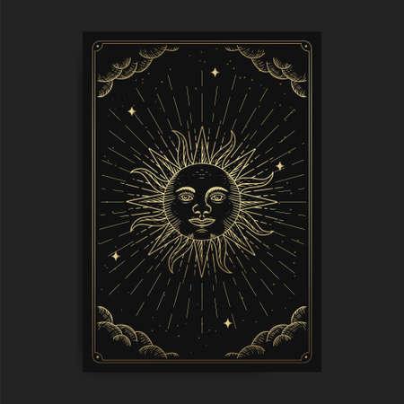 Sun or symbol of strength. Magic occult tarot cards, Esoteric boho spiritual tarot reader, Magic card astrology, drawing spiritual posters.