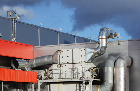 cold air: Industrial steel air conditioning and ventilation systems  Stock Photo