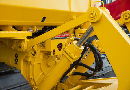 Detail of hydraulic bulldozer piston excavator arm