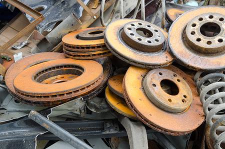 useless: Useless, worn out and rusty brake discs Stock Photo