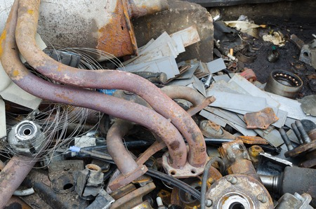corrosion: Useless, worn out rusty brake exhaust pipes and other parts