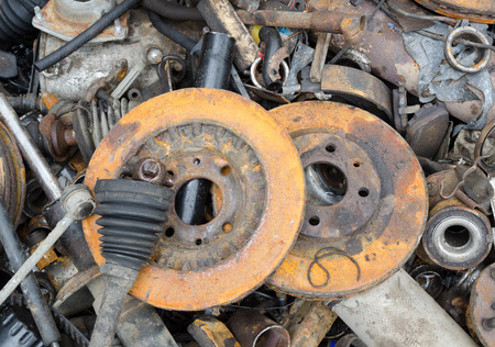 worn out: Useless, worn out rusty brake discs and other parts