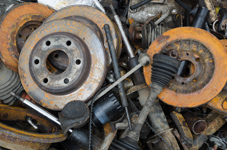 steel: Useless, worn out rusty brake discs and other parts