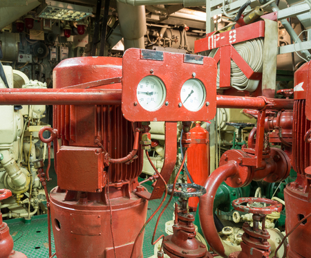 sprinkler alarm: part of fire sprinkler system in the ship engine room
