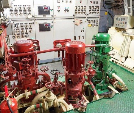 engine room: part of fire sprinkler system in the ship engine room