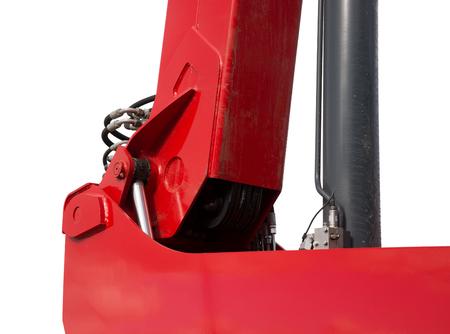 hydraulic hoses: Detail of hydraulic bulldozer piston excavator arm Isolated on white Stock Photo
