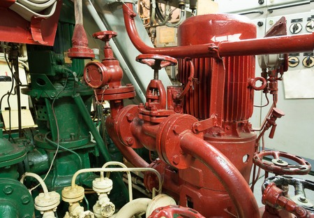 part of fire sprinkler system in the ship engine room