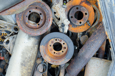 useless: Useless, worn out rusty brake discs shock absorber and other parts