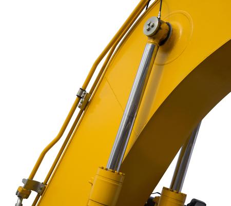 bulldozer: Detail of hydraulic bulldozer piston excavator arm Isolated on white Stock Photo