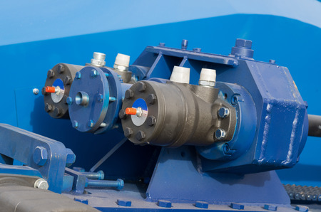 hydraulic hoses: Detail of hydraulic bulldozer piston excavator arm