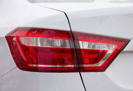 tail light: Close up of new white car tail light