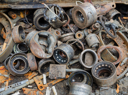 spares: Useless, worn out rusty brake discs shock absorber and other parts
