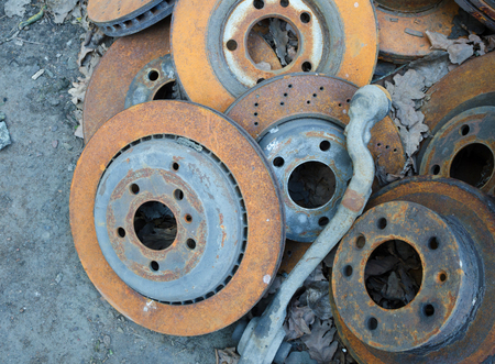 useless: Useless, worn out rusty brake discs and other parts