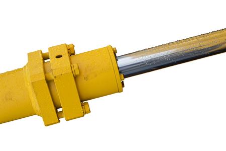 Detail of hydraulic bulldozer piston excavator arm Isolated on white Stock Photo