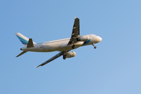 Pulkovo, Saint Petersburg REGION, RUSSIA - May 26 2017: Yamalaero Airbus A320 landing at Pulkovo international airport.