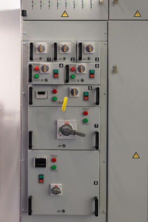breaking: Electrical panel at  factory. Controls and switches.