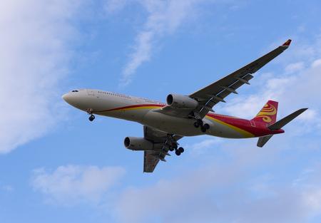 Pulkovo, St. Petersburg REGION, RUSSIA -26 may 2017:Airbus A330-300 Hainan Airlines landing at Pulkovo international airport. Editorial