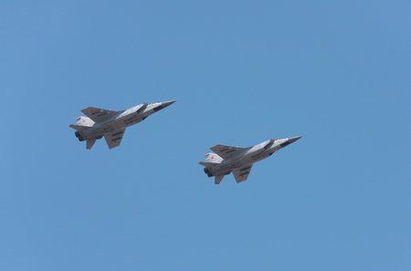 St. Petersburg REGION, RUSSIA – 23 July 2017. two jet fighters  MiG-31 in the sky Editorial