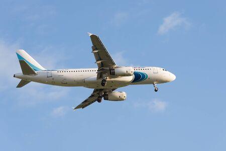 Pulkovo, St. Petersburg REGION, RUSSIA -26 may 2017: Airbus A320 Yamal Airlines landing at Pulkovo international airport. Editorial