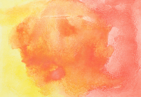 Abstract hand drawn orange and red watercolor background