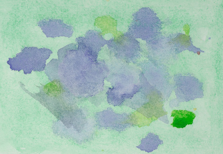 Green blue and purple, abstract background watercolor painting