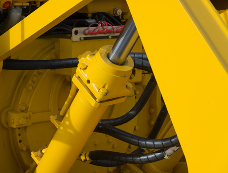 Detail of new hydraulic bulldozer piston excavator arm