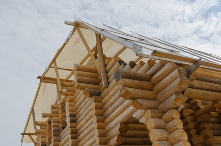 log Structure of new wooden house under construction