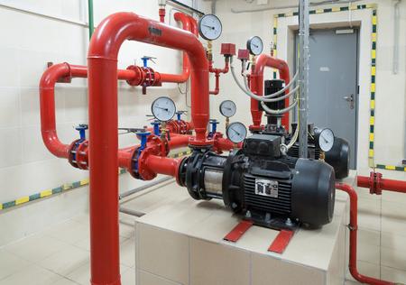 Industrial fire sprinkler station and alarm system Banque d'images