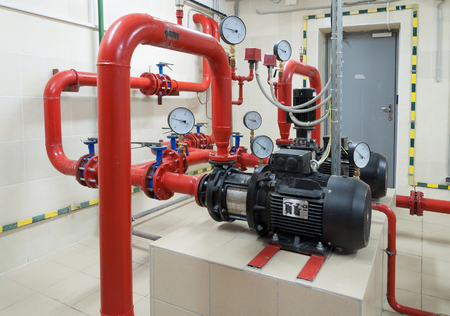 Industrial fire sprinkler station and alarm system Archivio Fotografico
