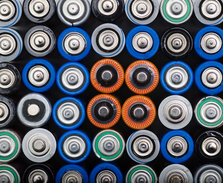 Closeup top view on rows of selection  old batteries aa size Stock Photo