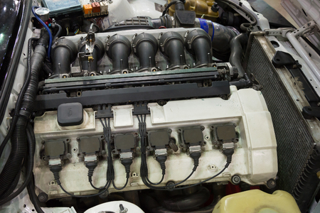 Closeup of the old powerful car engine. Internal design of engine.