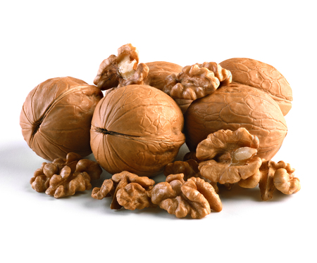 Walnuts, whole and cores closeup isolated on white background. This image has better resolution and quality, and absolute sharpness from foreground to background.