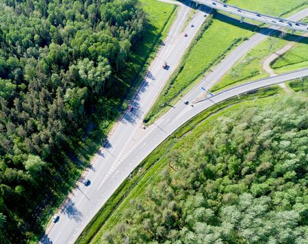 Aerial view of highway. Top view from above. 版權商用圖片