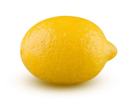 Lemon Isolated. Lemon Closeup on White Background. Highly Retouched Citrus Fruit. Full Depth of Field. Healthy Food and Dieting. Whole Lemon, Absolute Sharpness High Resolution and Quality Image.