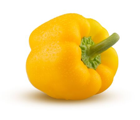 Pepper Isolated on White Background. Sweet Pepper Closeup. Highly Retouched Fresh Vegetable. Full Depth of Field. Yellow Pepper Whole, Absolute Sharpness High Resolution and Quality Image.